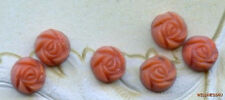 VINTAGE CORAL ART GLASS ROSES FLOWER CABOCHON JEWELRY FINDINGS 9.5mm tiny cabs