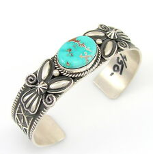 ANDY CADMAN Navajo Hand Stamped Sterling Silver Turquoise Cuff Bracelet | G BOI