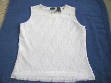 Laura Scott Ladies Size Medium White Lace Sleeveless Top Tank Style Fully Lined