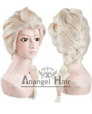 Free Hair Cap+Princess Snow Queen Elsa Wig for Kids Cosplay Costume Synthetic
