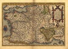 Gran A1 Abraham Ortelius la Galia, Francia, vintage reproducción Antiguo Mapa Antiguo Nuevo