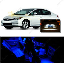 For Honda Civic 2006-2012 Blue LED Interior Kit + Xenon White License Light LED
