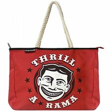"Red ""Thrill A Rama"" Rope Handle Tote Bag from Sourpuss Clothing"