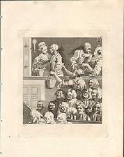1818 Grabado Cobre Hogarth georgiano ~ la audiencia risa
