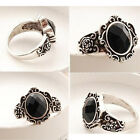 2pcs Women's Vintage Simple Black Crystal Ring Retro New Rhinestone Ring MW