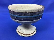 Otagiri Horizon Sherbet Pedestal Bowl Stoneware Japan Blue and Brown Bands