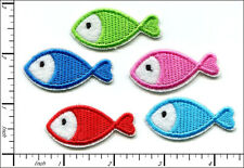 40 Pcs Embroidered Iron on patches Mixed Color Mini Fish AP013fA