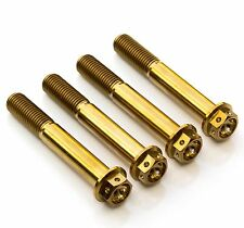 4x Gold Titanium Front Caliper Bolts 60mm Race Spec Drilled, Suzuki, Yamaha