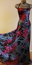 ᴥMONSOON GWEN DRESS SZ 10 BLACK PINK ACAPULCO SILK WEDDING MAXI PARTY BALL GOWN