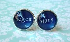 16 mm Navy Blue Legendary wedding Cuff Links ,Barney Stinson quote