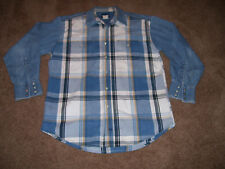 Men Wrangler Blue Denim Snap Shirt Long Sleeve Plaid Front/Back SiZe L GUC!