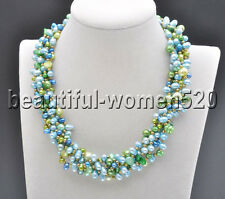 Z8212 6Strds Green blue Rice Baroque FW Cultured pearl Necklace 17inch