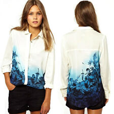 Women Blouse Casual loose Top Long Sleeve OL Flower Print Chiffon Shirt 5