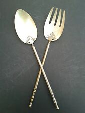 Antique Mother of Pearl Caviar Serving Spoon & Fork Set Silverplate Handles