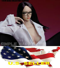 1/6  female head sculpt long black hair SDH002 for hot toys Phicen USA