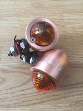 Pair Of Cafe Racer Motorcycle Bike Copper Look Metal Turn Signal Indicator Light