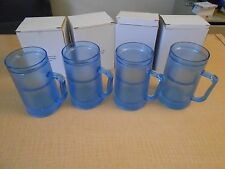 Set of 4 16 oz Frosty Freezer Beer Mug (COLOR BLUE)