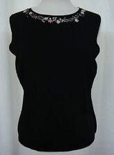Linda Lucia Black Tank Top Embroidered Floral Neckline Slim Fit Size XL  New