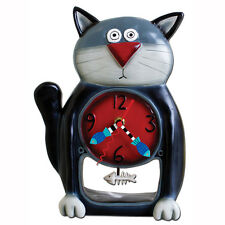Allen Designs Black Kitty Pendulum Child's Kids Whimsical Wall Clock