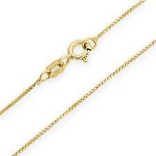 100% 14K Yellow Gold Solid Box Chain .5mm wide 16 inch w/ Spring Ring Clasp