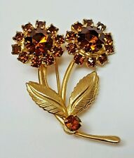 Vintage Unsigned Gold Tone and Brown Rhinestone Flower and Leaf Brooch Pin