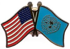 LOT OF 12 United Nation Friendship Flag Lapel Pins - UN Crossed Flag Pin
