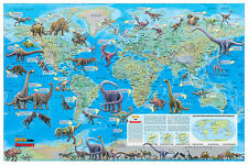 "CoolOwlMaps Dinosaur World Wall Map Poster 36""x24""  Rolled Laminated - 2016"