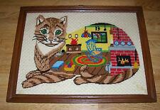 VINTAGE COMPLETED TABBY CAT MOUSE KITCHEN YARN FIREPLACE STOVE NEEDLEPOINT ART