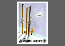 Skiing LES MONTS LOZERE Huge Vintage French Alps Art Deco Poster Reprint