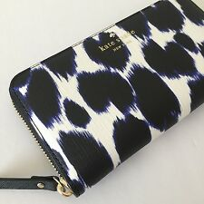 NWT Kate Spade Deep Indigo Leopard Emma Lane Fabric Lacey Zip Around Wallet NWT