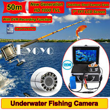 "50M 7"" LCD HD 1000TVL Stainless Underwater Video DVR Camera Fish Finder+4GB Card"