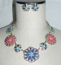 JOAN RIVERS Gold Tone Multi-Color Rhinestone Flower Choker Necklace Earring Set