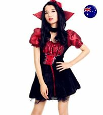 Adult Woman Halloween Stand collar Vampire Witch Party Fancy Costume Red Dress