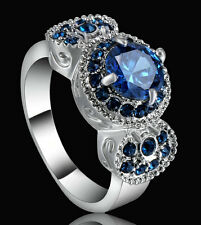 Fashion Lady/Women's Silver Filled Sapphire Crystal Wedding Ring Gift size 7