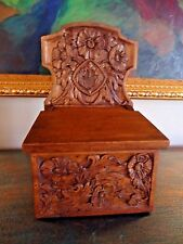 Antique FRENCH HAND CARVED WOOD BOX with FLUER DE LIS / WALL MOUNTED