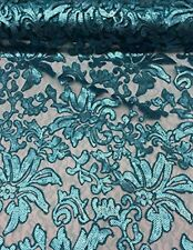 "56"" Turquoise Floral Fashion with Sequins Lace Dress Gowns Fabric By the Yard"