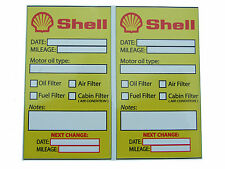 SHELL Oil Change Service Reminder Stickers - 2x