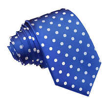 NEW DQT HIGH QUALITY POLKA DOT MEN'S SLIM TIE - ROYAL BLUE
