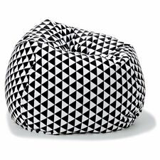 Large Black And White Geometric Print Bean Bag Cover Room Lounge Decor 300L