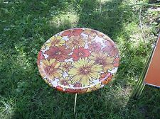 Vintage RETRO 50's  ROUND Flowers METAL TRAY TABLE OUTDOOR PATIO PICNIC POOLSIDE