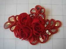 "Red Flower and Sequins Braided Applique 4 1/2"" by 3 1/4"""