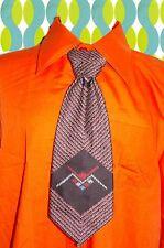 A267✪ original 70er Jahre Kult Retro Krawatte Hippie Muster schwarz rot