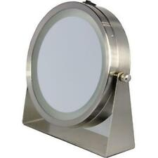 Floxite 8x/1x 360 Lighted Home And Travel Mirror - Brushed Nickel Metal