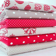 6 X FQ BUNDLE BAUBLES DOTS & SNOWFLAKES RED BEIGE - CHRISTMAS 100% COTTON FABRIC
