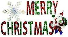 MERRY CHRISTMAS LIGHTED HOLOGRAPHIC SIGN CHRISTMAS YARD WINDOW LIGHT UP SIGN