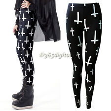 Women Ladies Personality Black Cross Print Full Length Skinny Leggings Pants 35D