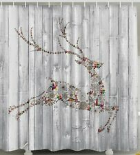 Christmas Reindeer SHOWER CURTAIN Panels Holiday Gifts Presents Hearts Tub Decor