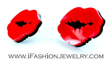 Chic Big Sexy Red Hot Lip Kiss Black Mouth Stud Earrings Plastic Fashion Jewelry