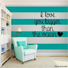 OCEAN SEA LOVE Vinyl Wall Art quote Home Family Decor Decal Word & Phrase Black