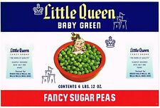 CAN CASE LABEL VINTAGE C1950S ORIGINAL LITTLE QUEEN PEAS 3 MILTON OREGON ROGERS